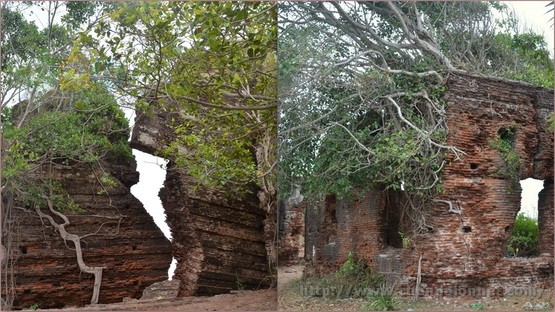 Broken walls and rooms at Alamparai Fort in ECR Road.