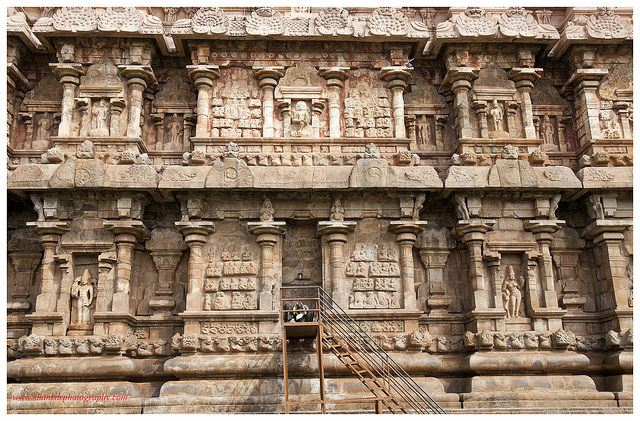 A close up of the wall of the Shiva temple. Exquisitely carved in every inch.
