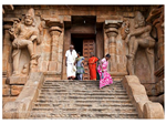 "A view of the entrance to the Shiva temple with the towering ""Dwarapalas"" or the Door Keepers."