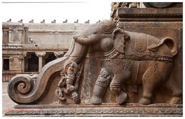 The Chola architects did not create s simple baluster. Instead they created extraordinary architecture. Here the balustrade is in the form of a royal elephant with ornaments on it.