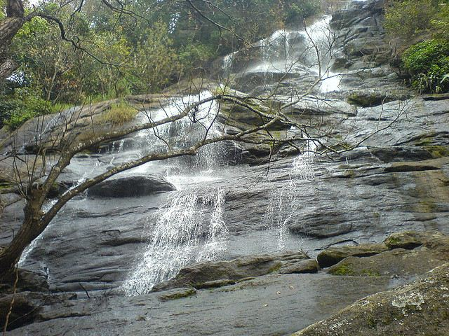 Water flowing in rock terrain in Killiyur Falls at Yercaud.