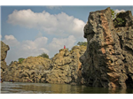 The Carbonite rock structure and a favorite movie shooting spot at Hogenakkal falls.