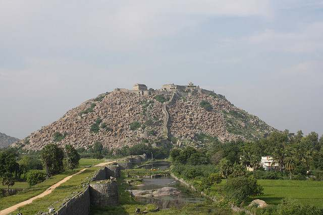The hillock where fort is at Gingee Fort or Senji Fort or Chenji Fort.