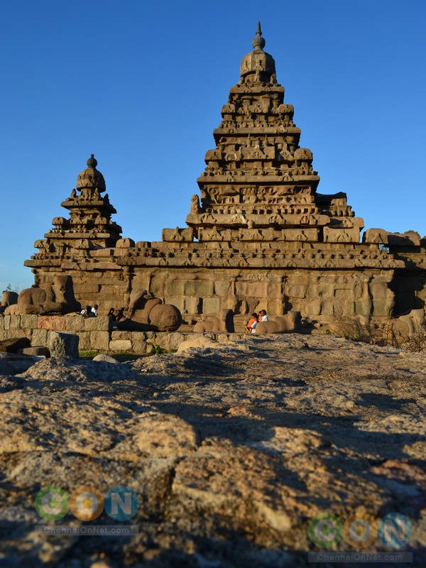 Shore temple view from rock