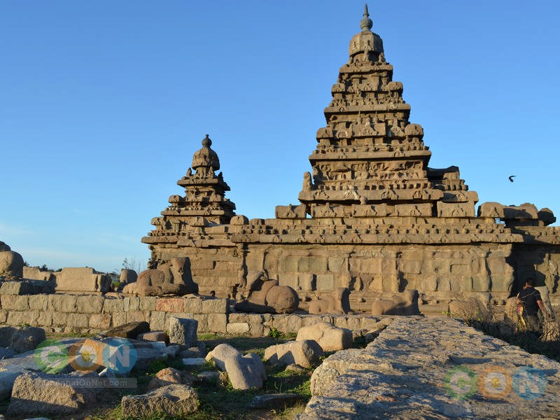 Shore temple from rocks
