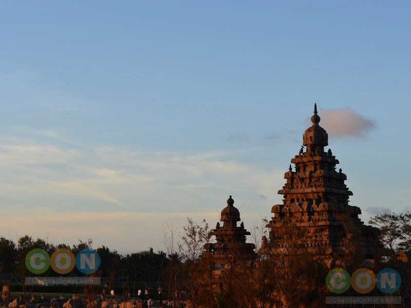 Rear view of Shore temple during sun set