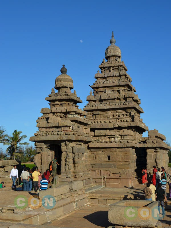 Shore temple with moon